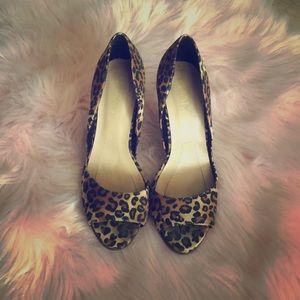 Leopard Peep Toe Heels (worn once)